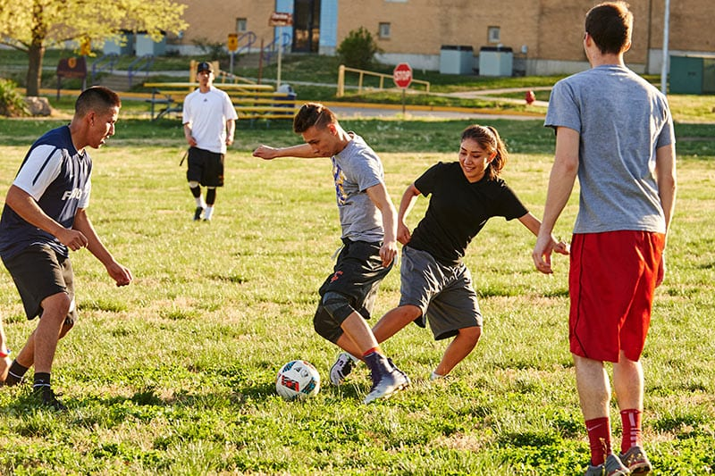 Playing soccer on campus